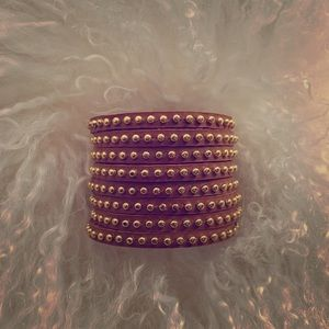 Cara Couture Genuine Leather Gold Mini Stud Cuff